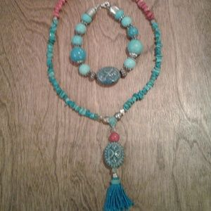 TURQUOISE AND CORAL NECKLACE AND BRACELET SET